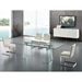 Beasley Clear Tempered Glass + Polished Stainless Steel Modern Dining Table - Lifestyle