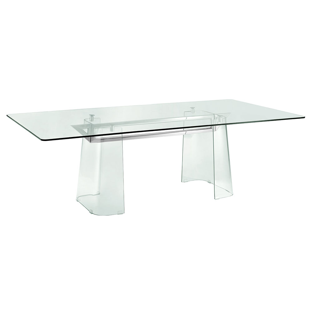 Beasley Clear Tempered Glass + Polished Stainless Steel Modern Dining Table