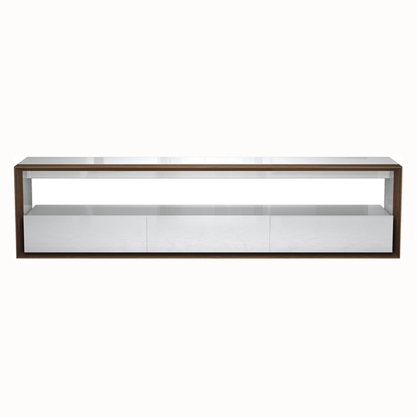 Modloft Black Beckenham White + Walnut 79 In. Modern Media Console