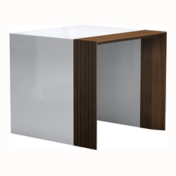 Modloft Black Beckenham White + Walnut Modern Side Table