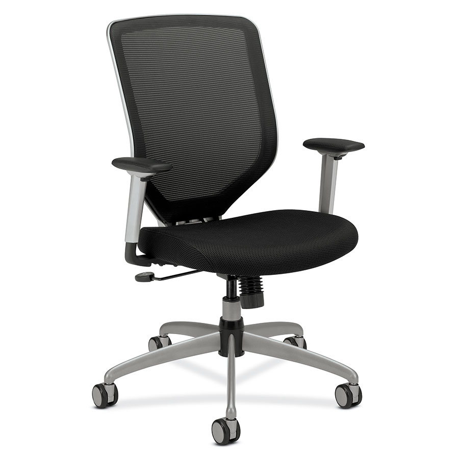 Becker Modern Black + Silver Office Chair - Padded Seat
