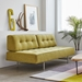 Gus* Modern Bedford Modern Sofa Sleeper Lounge in Green Bayview Dandelion Fabric Upholstery