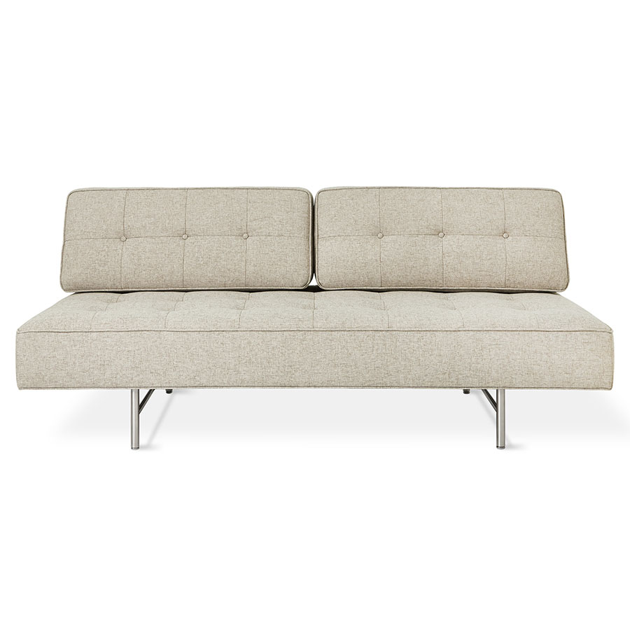 Gus Modern Bedford Contemporary Sleeper Lounge In Leaside Driftwood With Brushed Steel Base