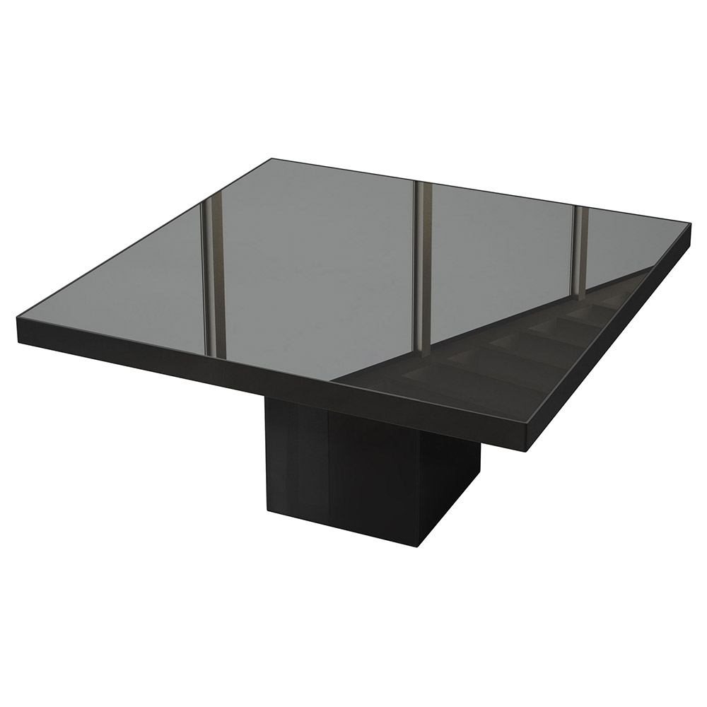 Modloft Beech Black Lacquer + Black Glass Square Modern Dining Table