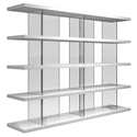 Modloft Beekman Glossy White + Clear Glass Modern Bookcase
