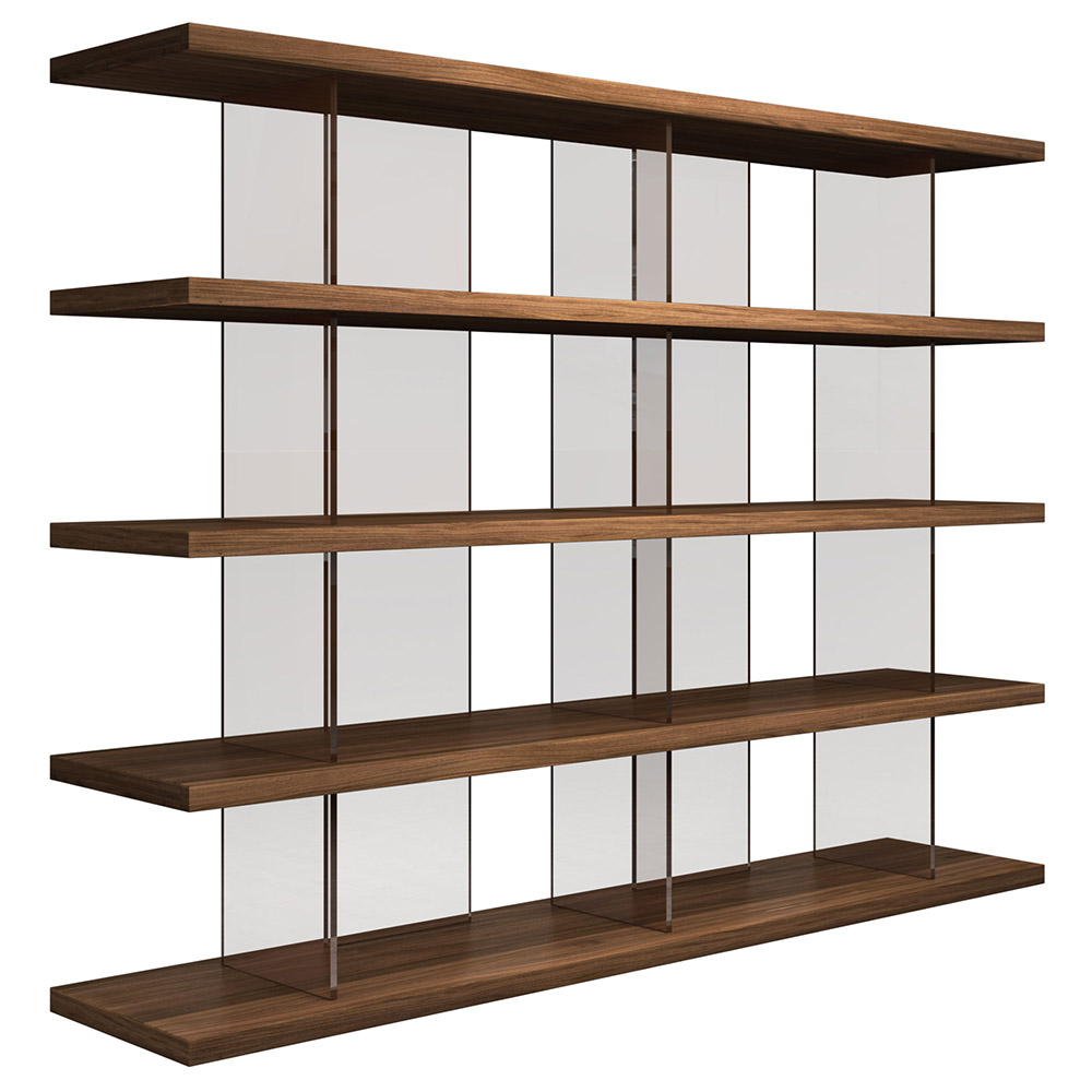 Modloft Beekman Walnut + Tinted Glass Modern Bookcase