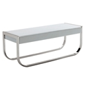 BelllaDonna White Leatherette + Stainless Steel Modern Bench