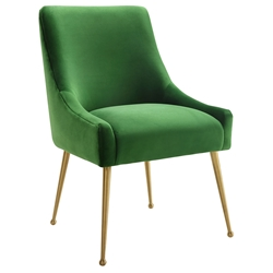Bellingham Modern Green Velvet + Gold Steel Dining Chair