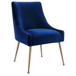 Bellingham Modern Navy Velvet + Gold Steel Dining Chair