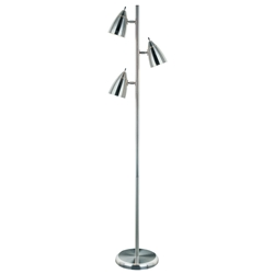 Benton Polished Steel Modern Floor Lamp