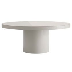 Modloft Berkeley Chateau Gray Glass Top Round Modern Dining Table