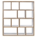 Berlin 4 Level 59 Inch White + Ply Contemporary Bookcase Front