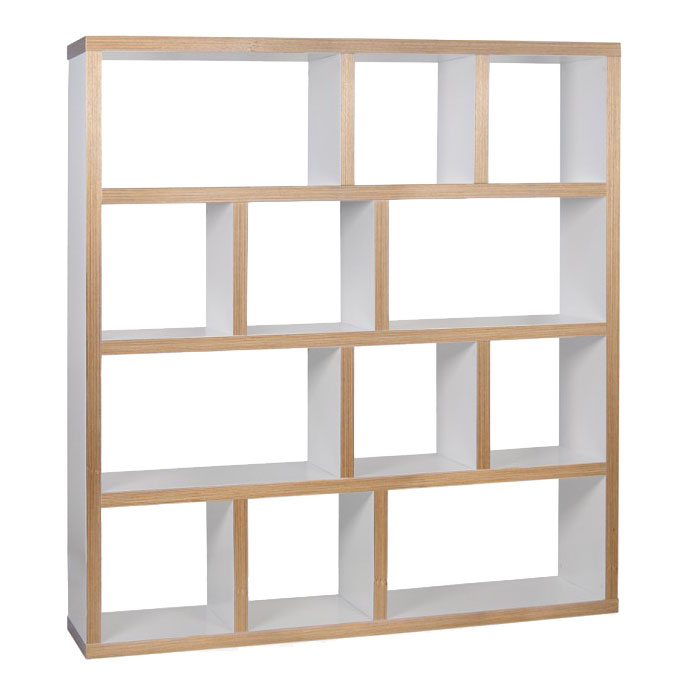Berlin 4 Level 59 Inch White + Ply Contemporary Bookcase