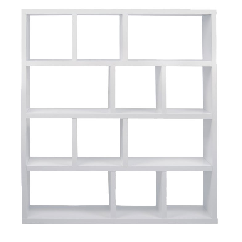 Berlin 4 Level 59 Inch White Contemporary Bookcase Front