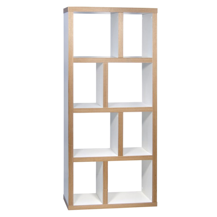 Berlin 4 Levels 70 CM Contemporary White + Ply Bookcase