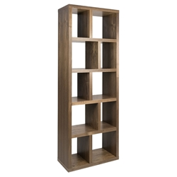 "Berlin 5 Levels 28"" Walnut Contemporary Bookcase"