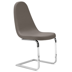 Berna Chrome + Taupe Modern Dining Chair