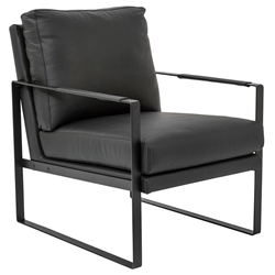 Bettina Modern Black Leather Lounge Chair by Euro Style
