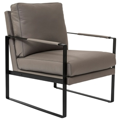 Bettina Modern Gray Leather Lounge Chair by Euro Style