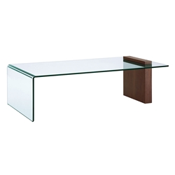 Bienvenue Walnut Veneer + Clear Glass Modern Coffee Table
