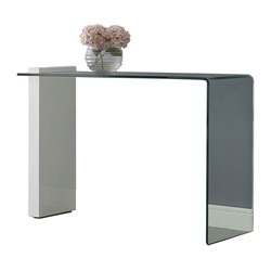 Bienvenue White Lacquer + Clear Glass Modern Console Table