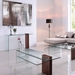 Bienvenue Walnut + Clear Glass Contemporary Console Table
