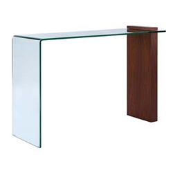Bienvenue Walnut + Clear Glass Modern Console Table