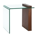 Bienvenue Walnut Veneer + Clear Glass Modern End Table