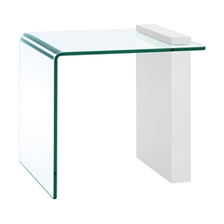 Bienvenue White Lacquer + Clear Glass Modern End Table