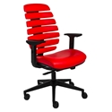 Euro Style Bina Mid Back Modern Office Chair in Red Leatherette
