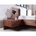 Blair Walnut Wood Contemporary King Bed With Built-In Nightstand