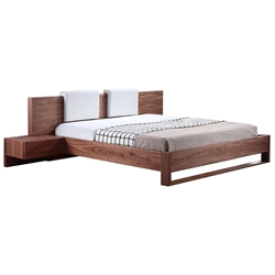Blair Walnut Modern King Bed With Built-In Nightstand