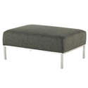 Blanche Hunter Green Tweed Fabric + Brushed Stainless Steel Modern Ottoman - Main