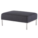 Blanche Midnight Blue Tweed Fabric + Brushed Stainless Steel Modern Ottoman - Main