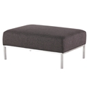 Blanche Storm Gray Tweed Fabric + Brushed Stainless Steel Modern Ottoman - Front