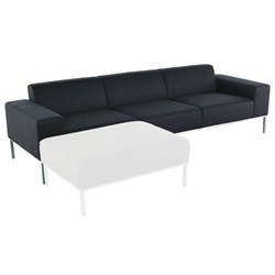 Blanche Midnight Blue Fabric + Brushed Stainless Steel Modern Sofa