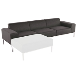 Blanche Shale Gray Fabric + Brushed Stainless Steel Modern Sofa
