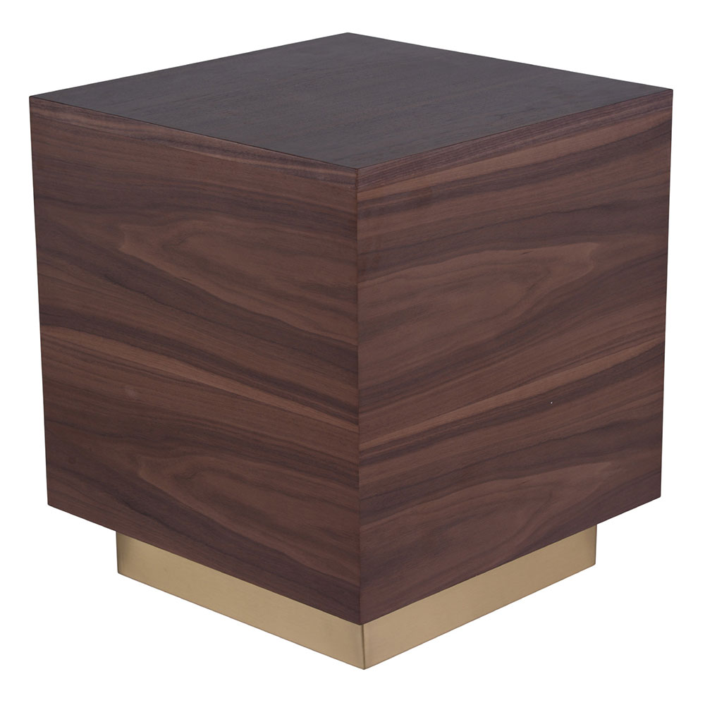 Blanco Modern Walnut Wood + Gold Metal Side Table