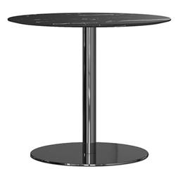 Modloft Bleecker Black Marble Round Modern Bistro Dining Table