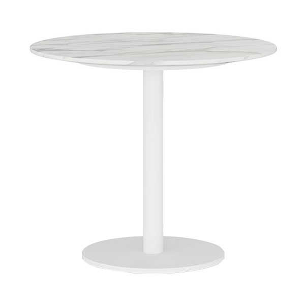 Modloft Bleecker White Marble Round Modern Side Table