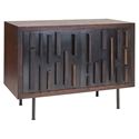 "Blok 44"" Wide Modern Sideboard in Seared French Oak with Black Washed Oak and Black Cast Iron Feet"