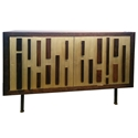 "Blok 44"" Wide Seared French Oak Modern Sideboard With Bronze Feet"