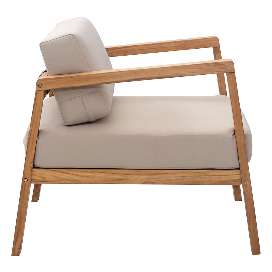 Modern outdoor lounge chair -  Blondie Beige Teak Modern Outdoor Lounge Chair