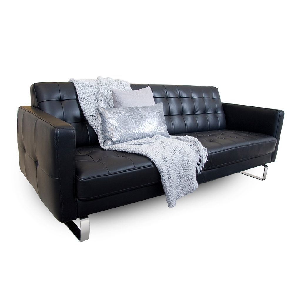 Merveilleux Call To Order · Block Leather Sofa With Chrome Legs