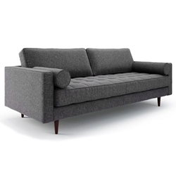 Bloomberg Charcoal Fabric + Dark Walnut Wood Mid Century Modern Sofa