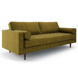 Bloomberg Green Fabric + Walnut Wood Mid Century Modern Sofa