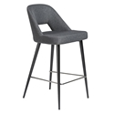 Blair Dark Gray Fabric + Black Steel Modern Counter Stool