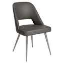 Blair Gray Leatherette + Brushed Stainless Steel Modern Dining Side Chair