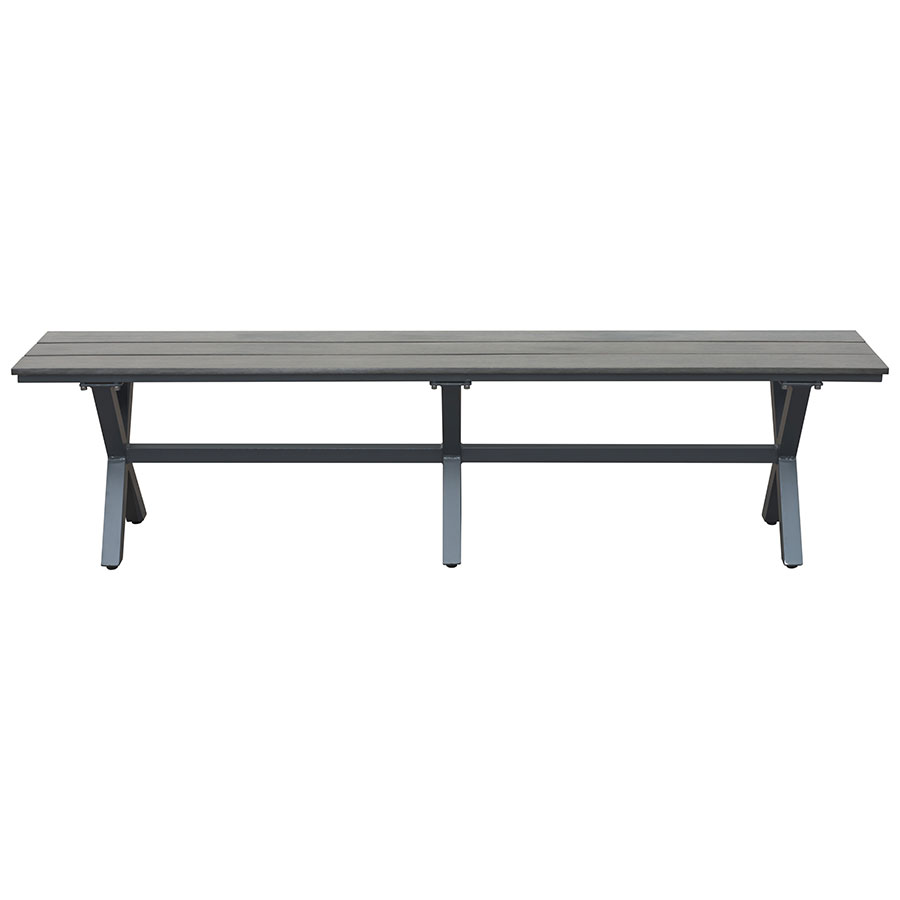 ... Boaz Faux Wood + Powder Coated Metal Contemporary Outdoor Dining Bench  ...