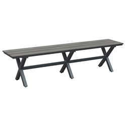 Boaz Faux Wood + Powder Coated Metal Modern Outdoor Dining Bench